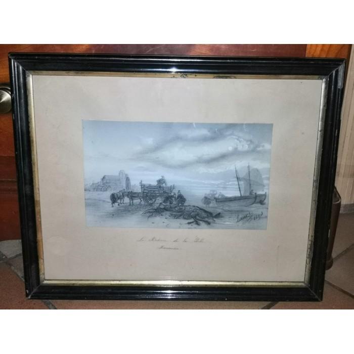 Dessin à la mine de plomb 1893 Le retour de la pêche en Normandie
