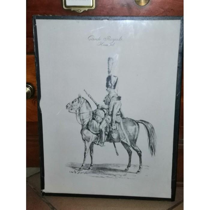 Gravure par carle Vernet intitulée Garde Royale Hussard