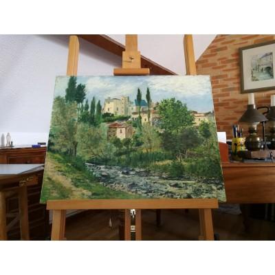 Huile sur toile représentant un paysage méditerranéen