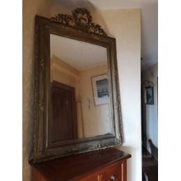 Miroir en bois doré Epoque Napoléon III à décor Rocaille