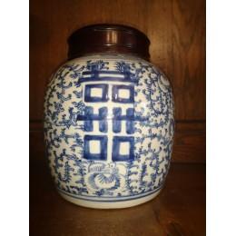 Pot à gingembre chinois ancien en porcelaine blanc et bleu du XIXème Siècle Epoque Qing