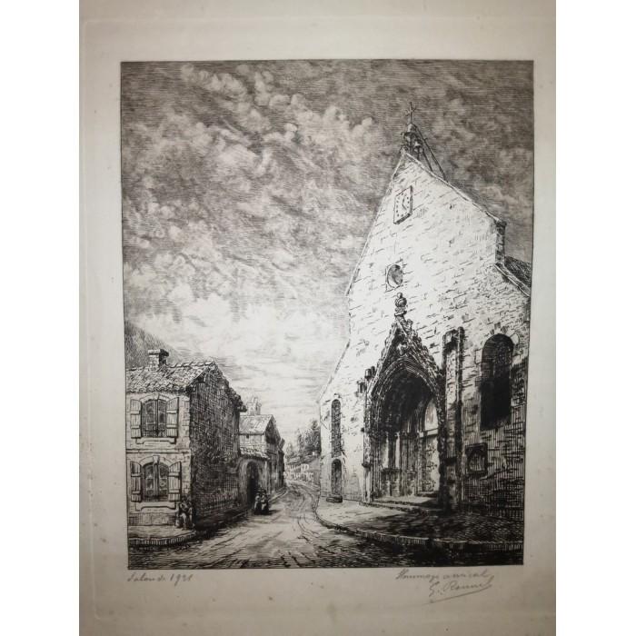 Eau forte de 1921 signée par l'auteur église et maisons d'1 village