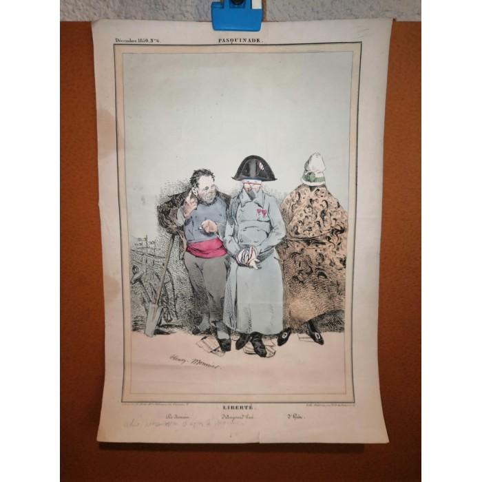 Lithographie aquarellée ou réhaussée en couleurs Liberté par Henry Bonaventure monnier planche