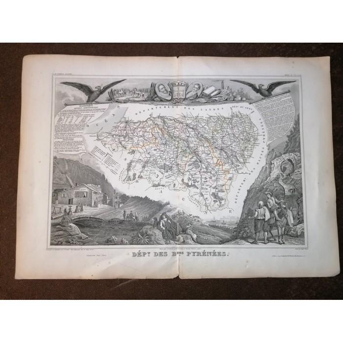 Carte ancienne Authentique du département des Basses pyrénées de 1852 par V. Levasseur