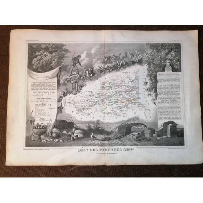Carte ancienne Authentique du département des Pyrénées Orientales de 1852 par V. Levasseur