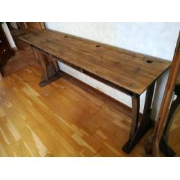 Bureau écolier 3 places en bois ancien