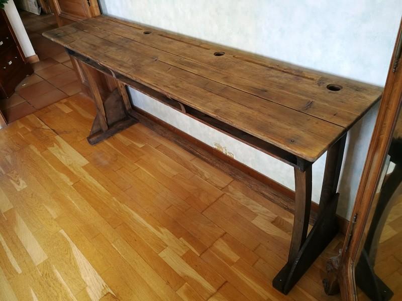 Bureau écolier places en bois ancien atypique