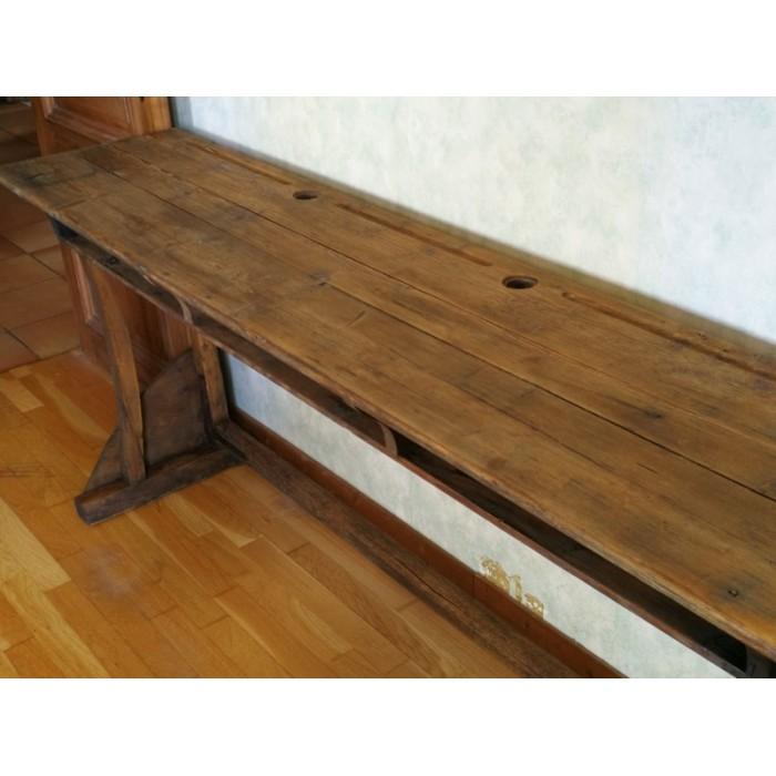 Bureau colier 3 places en bois ancien atypique84 - Bureau bois ancien ...