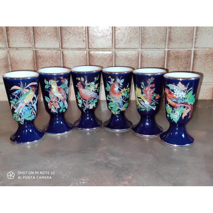 6 mazagrans en porcelaine de limoges R. Bonhomme décor oiseaux Limoges France