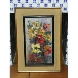 Huile sur toile Fleurs par Roger Vandenbulcke
