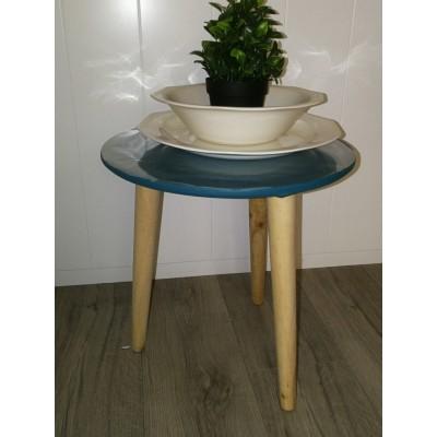 Table basse bleu tripode piétement en bois naturel