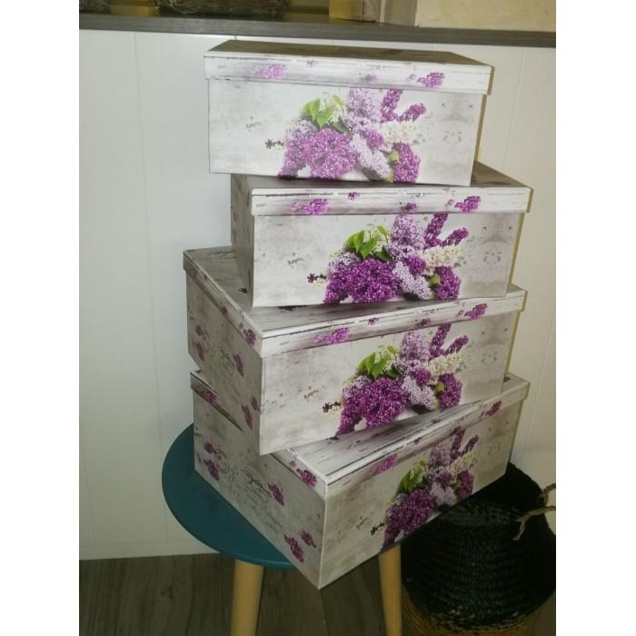 4 boîtes rectangulaires de rangement à décor lilas