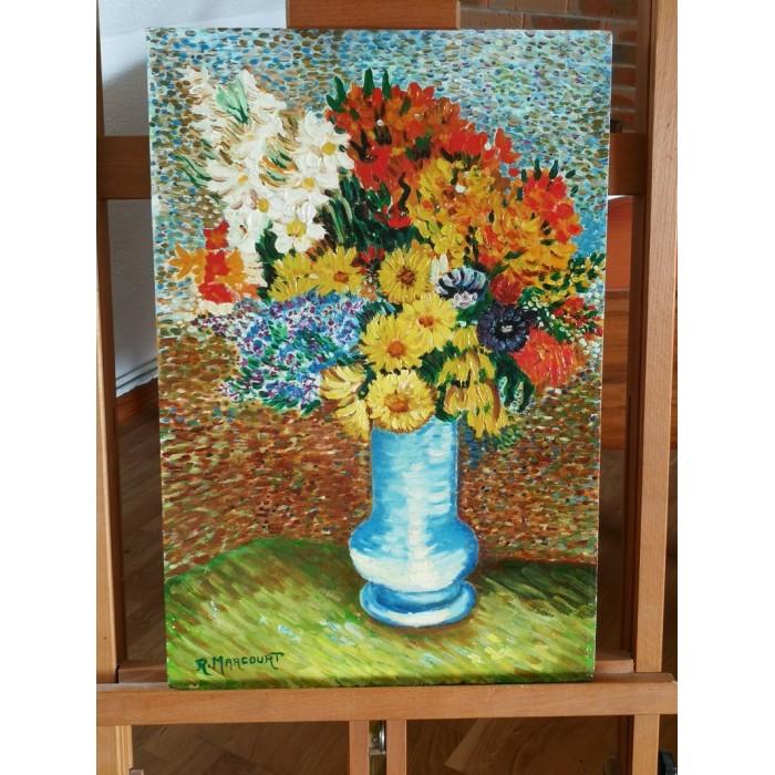 Huile sur contreplaqué Vase de fleurs