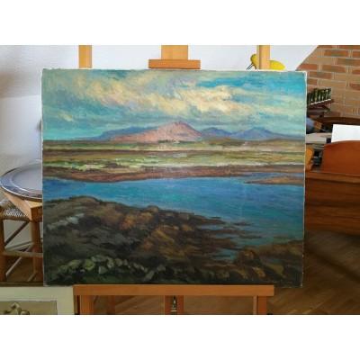 Huile sur toile Paysage de montagne de Pio Santni