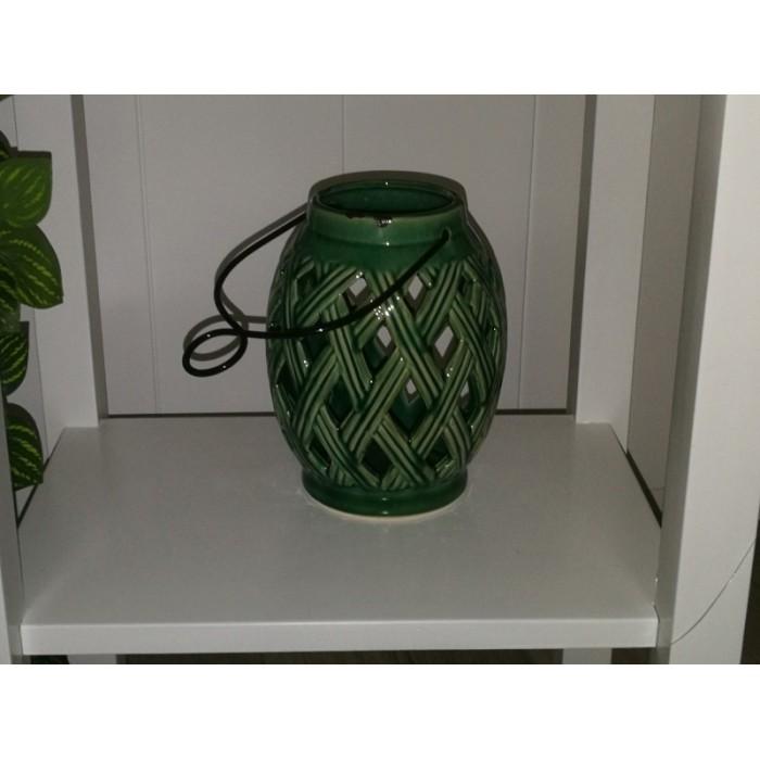 Lanterne céramique ajourée vert
