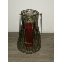 Lanterne en métal et verre transparente