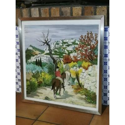 Lithographie chevaux paysage provençal