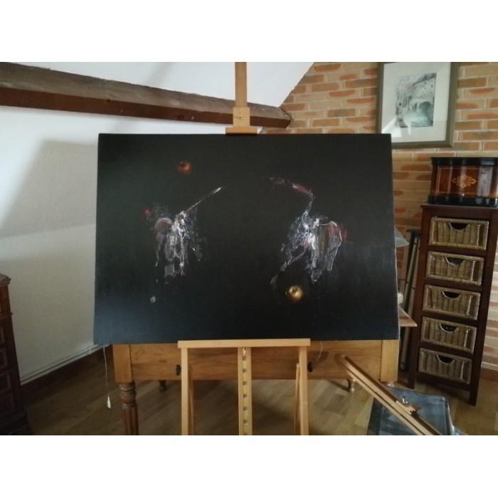 Huile sur toile signée Corbel Série noire