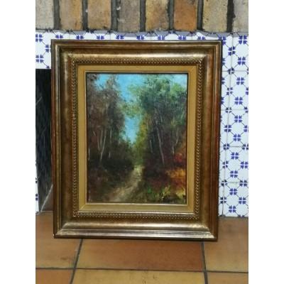 Huile sur toile peinture sous-bois de jacques michel g Dunoyer