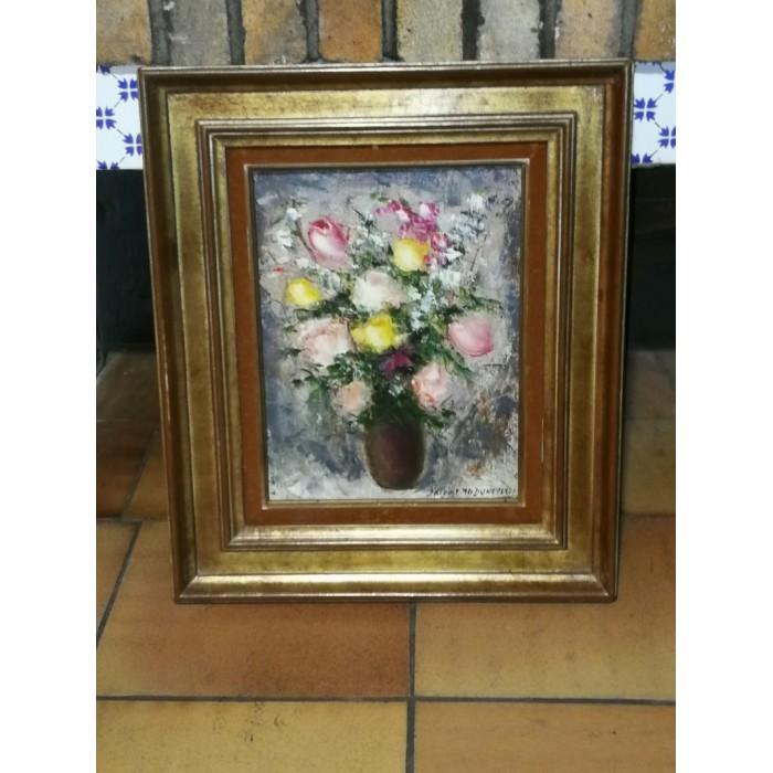 Huile sur toile bouquet de fleurs de jacques m g Dunoyer
