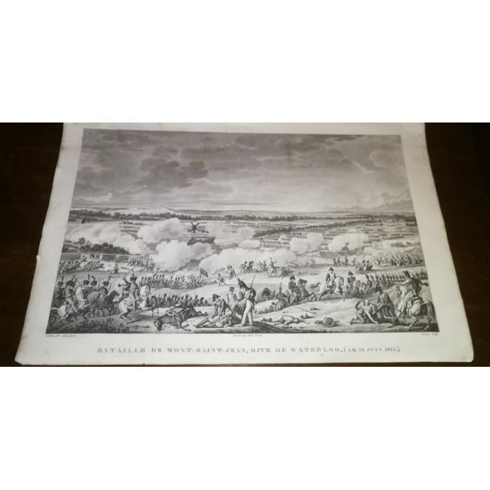 GRAVURE ANCIENNE NAPOLEON BATAILLE DE MONT-SAINT-JEAN, DITE DE WATERLOO