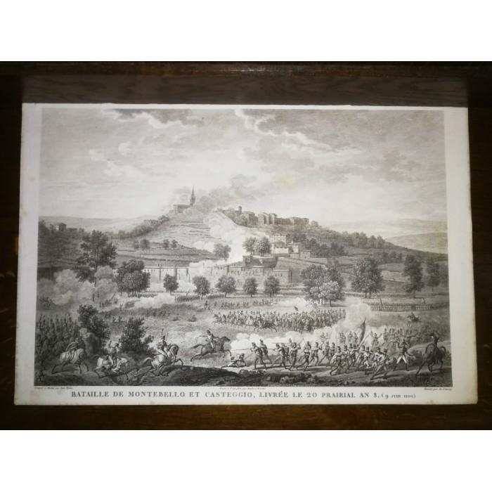 GRAVURE ANCIENNE NAPOLEON BATAILLE DE MONTEBELLO ET CASTEGGIO