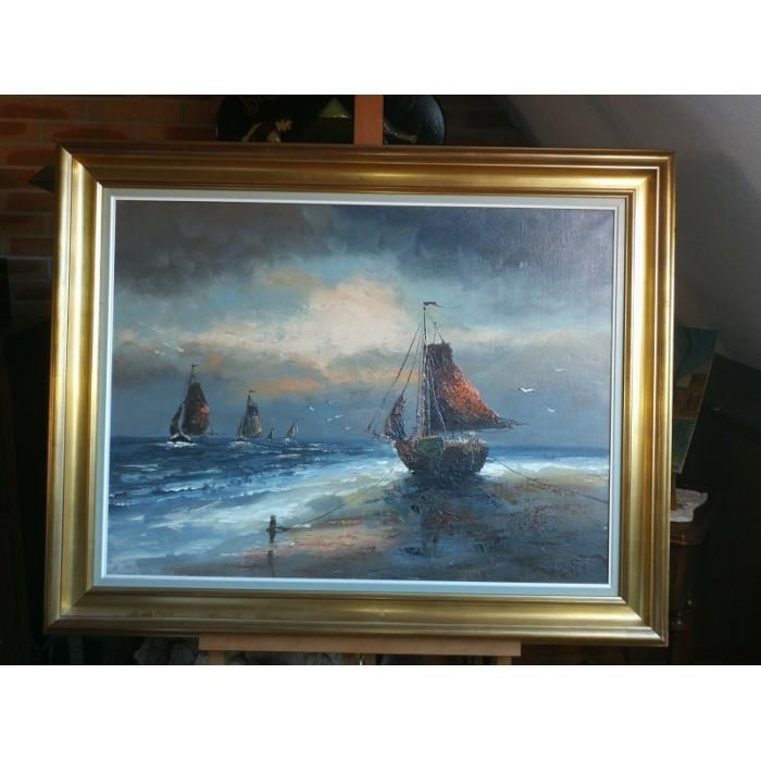 Huile sur toile représentant 1 marine
