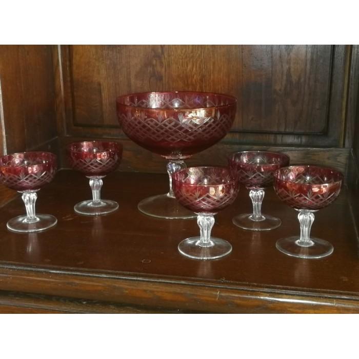 Service à fruits en cristal doublé rouge à décor taillé