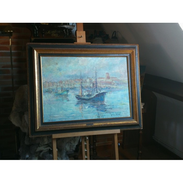 Huile sur toile marine par Baldi pierre tableau