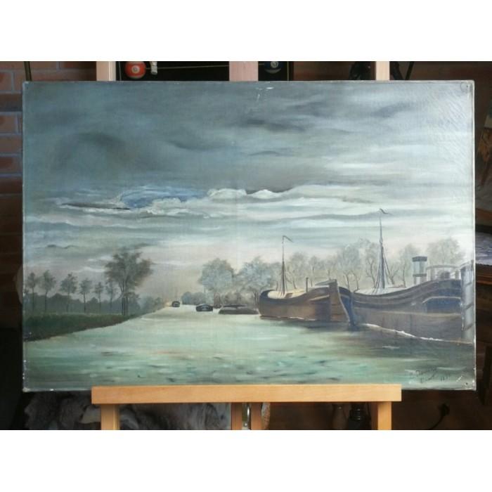 Huile sur toile marine par Taverne louis XIXEME siècle