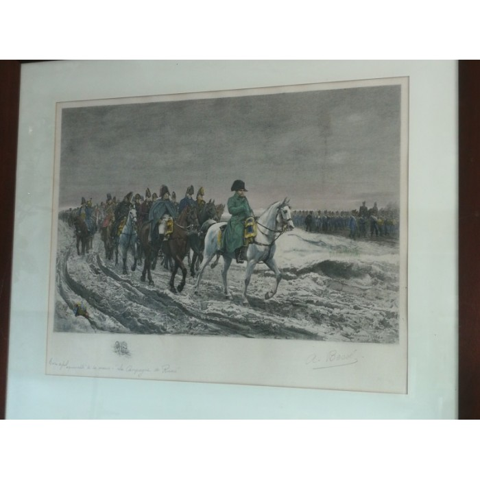 Burin original aquarellé à la main Napoléon
