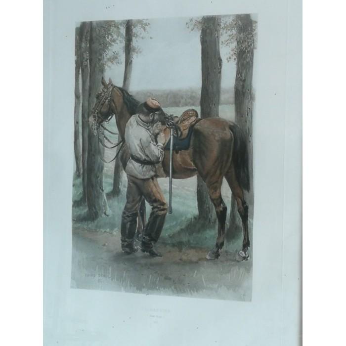 Le cuirassier gravure militaria armée par Detaille XIXEME siècle encadrée