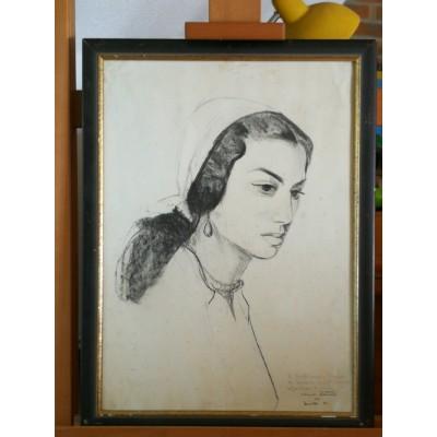 Dessin au fusain portrait de femme de Claude Petitet dédicacé