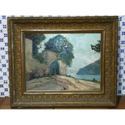 Huile sur bois paysage signée Augustin Pierre Bienvenu Chenu, dit Fleury Chenu (1833-1875)