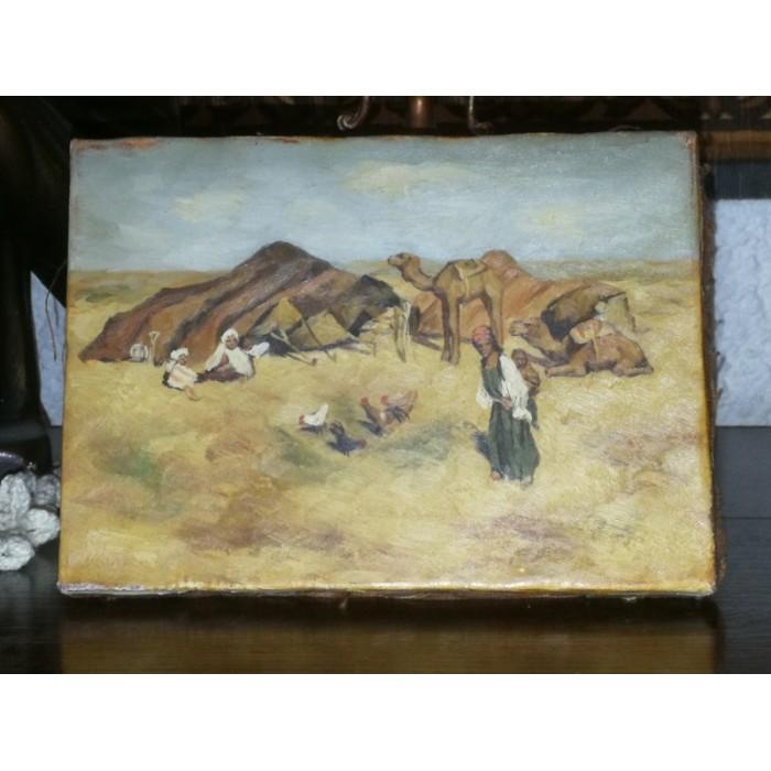 HUILE sur toile Orientaliste Touaregs dans le désert