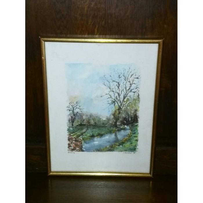 Aquarelle d'Aveluy (somme) paysage par J. Bordier
