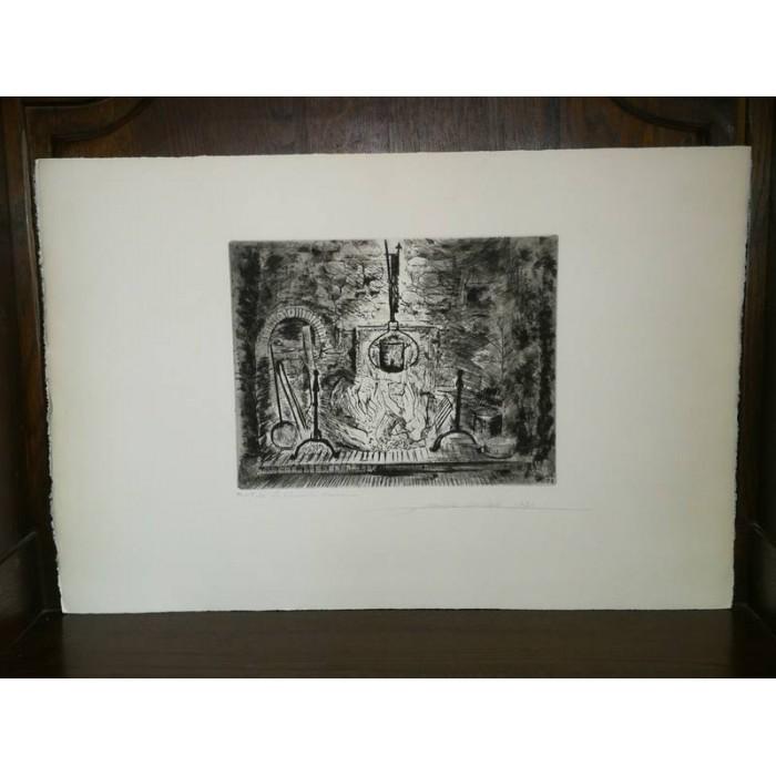 La cheminée Normande par François Soulas Epreuve d'artiste Eau forte