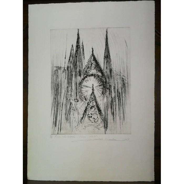 Rouen La Cathédrale rosace côté Sud par François Soulas Eau forte numérotée