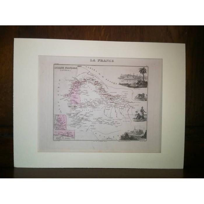 Carte ancienne authentique de L'Afrique française, Sénégal 1861