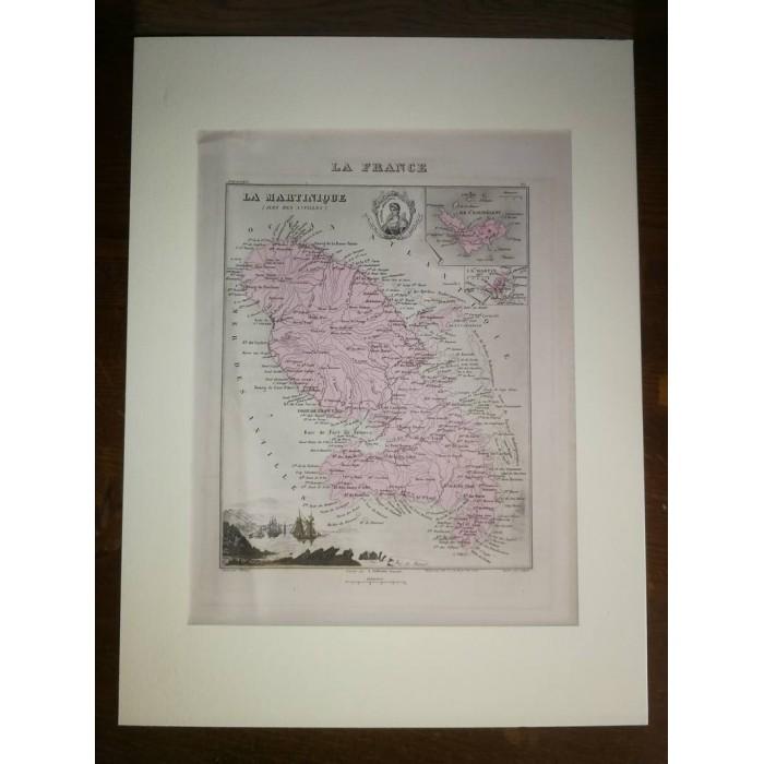 Carte ancienne Authentique de La Martinique 1861