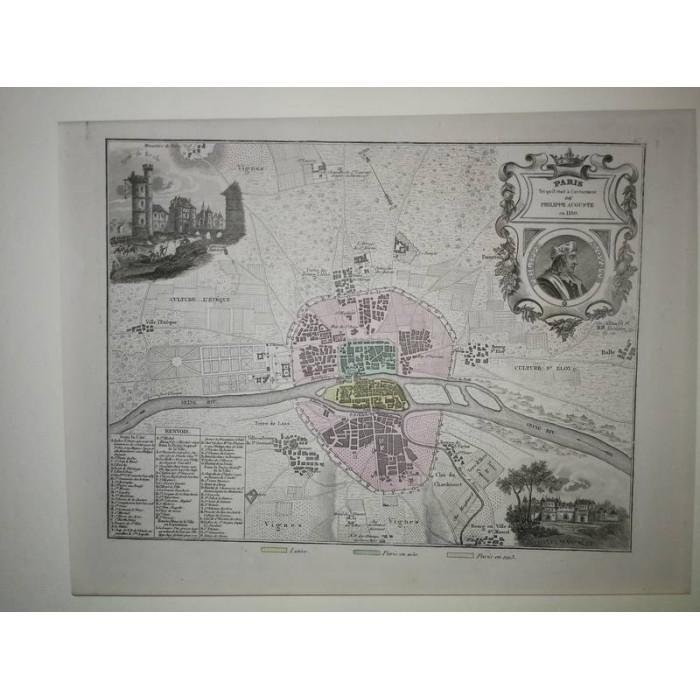 Carte ancienne Authentique de Paris sous Philippe Auguste 1861