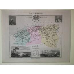 Carte ancienne Authentique de L'Afrique Française L'Algérie 1861