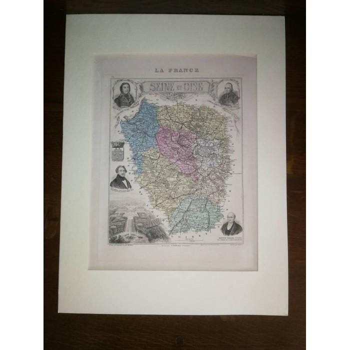 Carte ancienne Authentique de La Seine et Oise 1861
