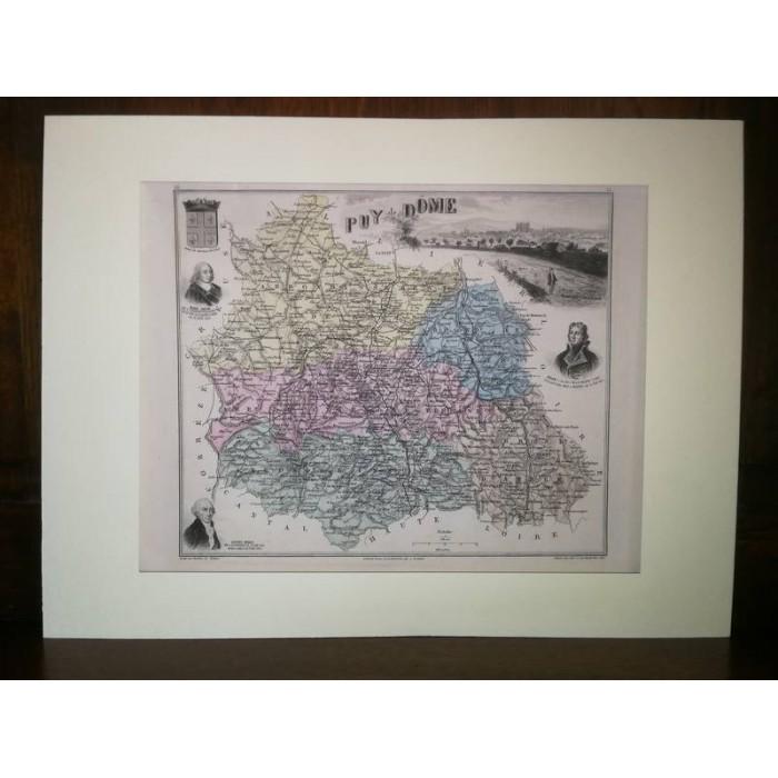 Carte ancienne Authentique du Puy de Dôme 1861