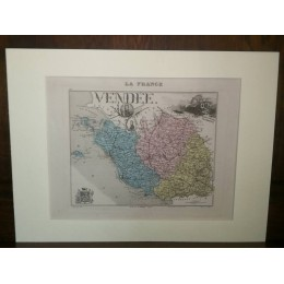 Carte ancienne Authentique de La Vendée 1861