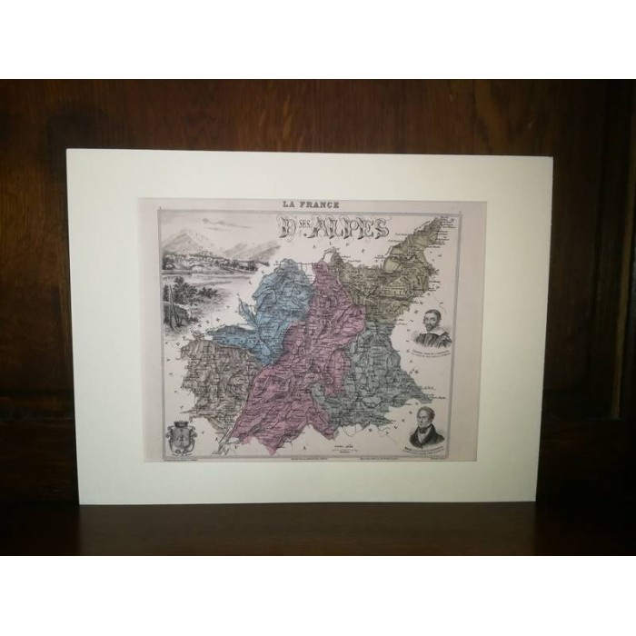 Carte ancienne Authentique des 2 Alpes 1861 ( D ses Alpes)
