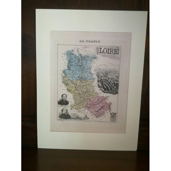 Carte ancienne Authentique de La Loire 1861