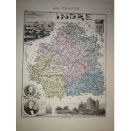 Carte ancienne Authentique de l'Indre 1861