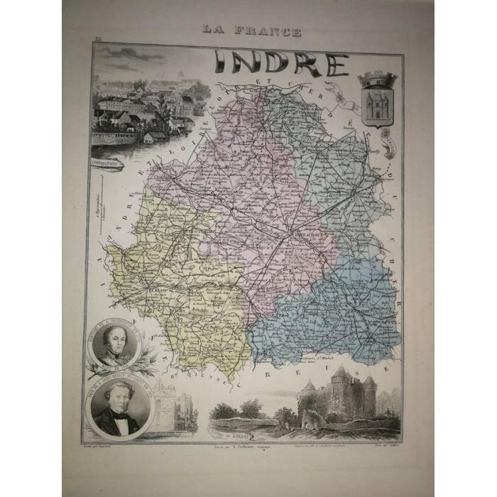 Carte ancienne Authentique de l'Indre 1861