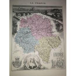 Carte ancienne Authentique de l'Indre et Loire 1861